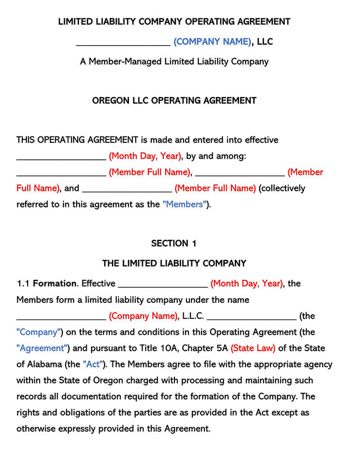 Oregon LLC Operating Agreement