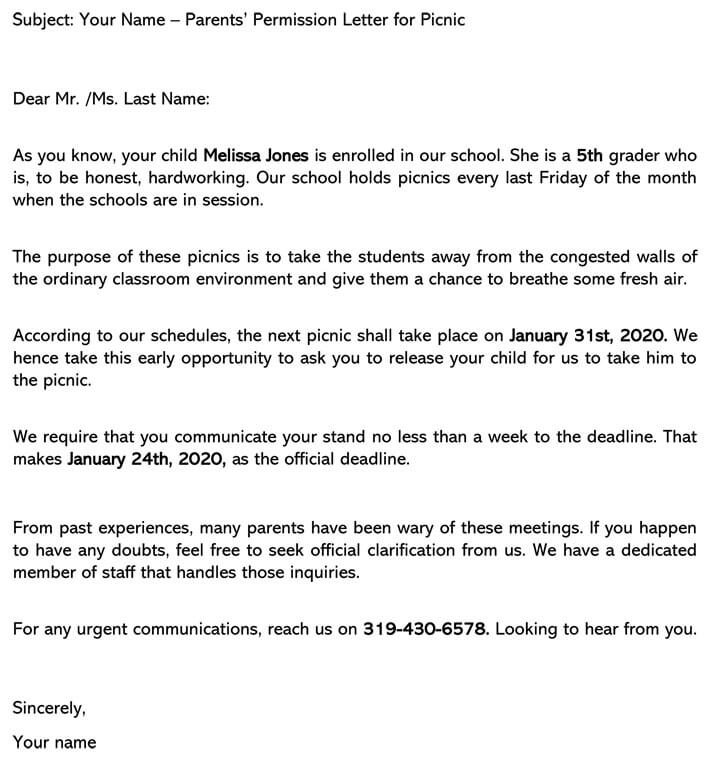 Permission Letter for Picnic (Email Example)