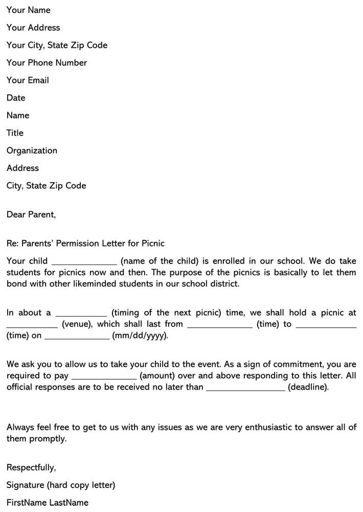 Parents' Permission Letter for Picnic