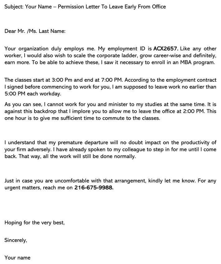 Permission Letter to Leave Early From Office  Sample