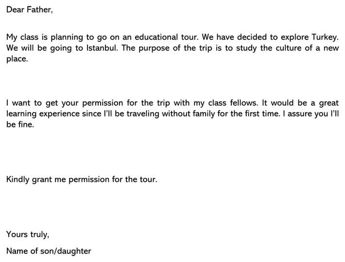Permission Letter to Father for Educational Trip