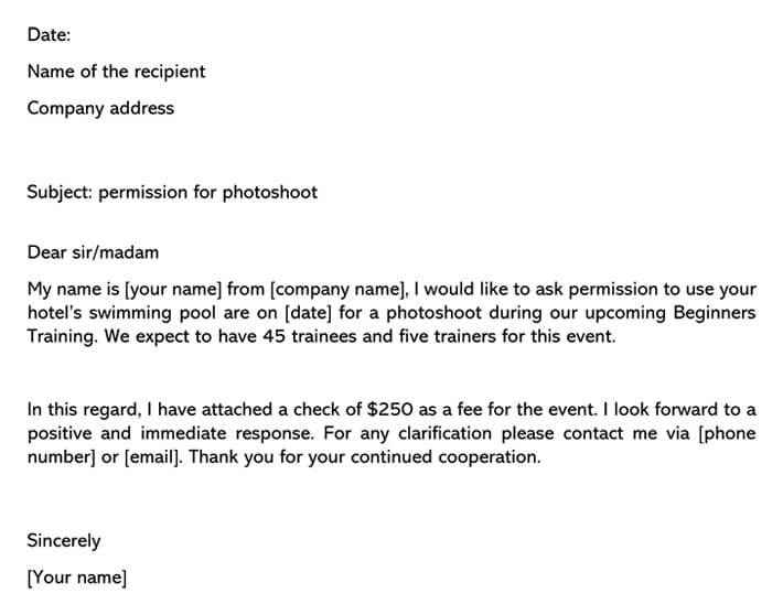Permission Letter for Photoshoot