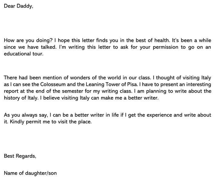 Permission Letter for educational trip Email Example