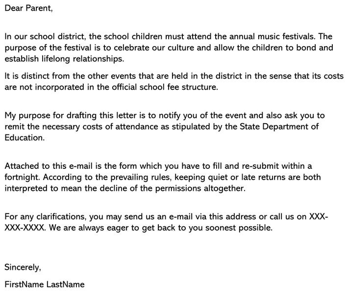 Permission Letter For School Trip