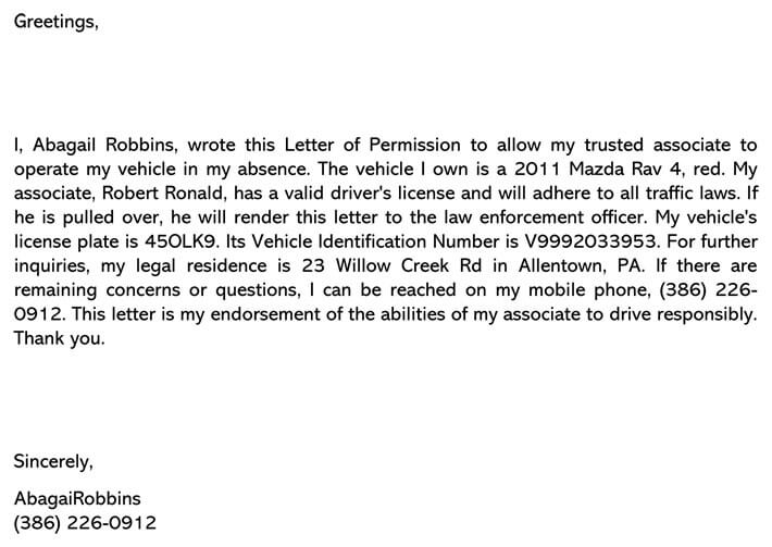 Permission Letter to Drive Vehicle Sample