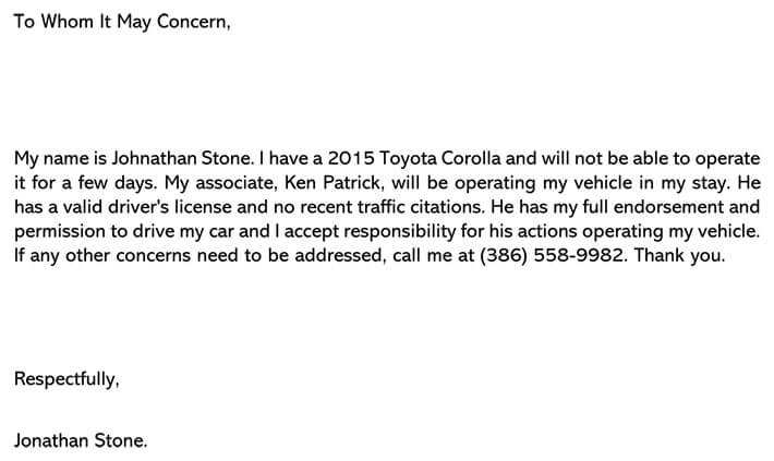 Permission Letter to Drive Vehicle