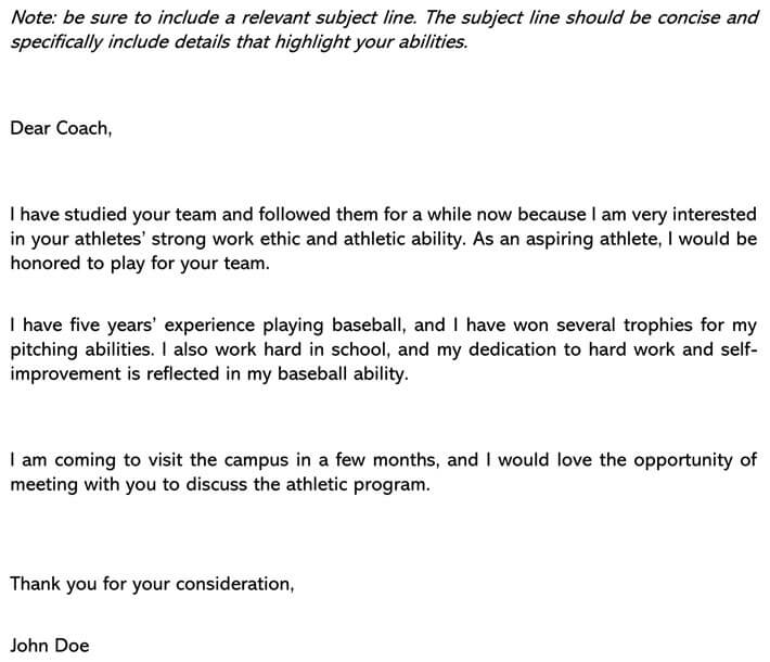 Permission Letter to Participate in sports Email Example