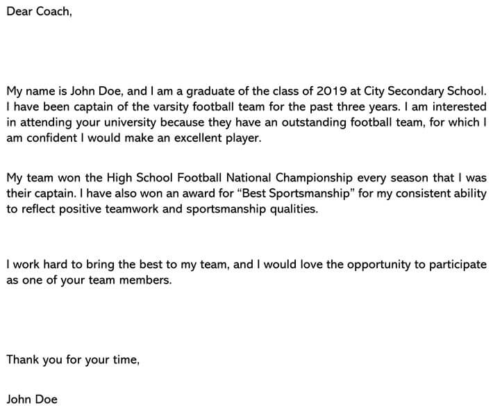 Permission Letter to Participate in Sports