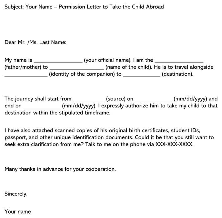 Permission Letter to Take the Child Abroad Email example