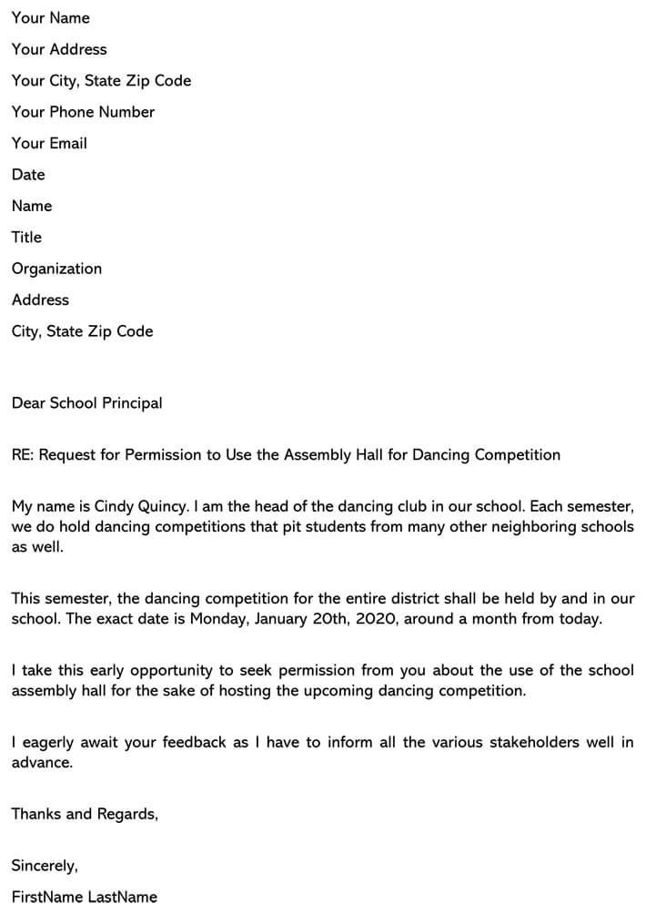 Permission Letter to use Assembly Hall - Application To The Headmaster Seeking Permission For Admission