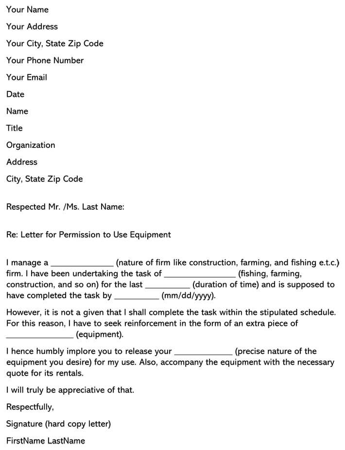 Letter for Permission to Use Equipment