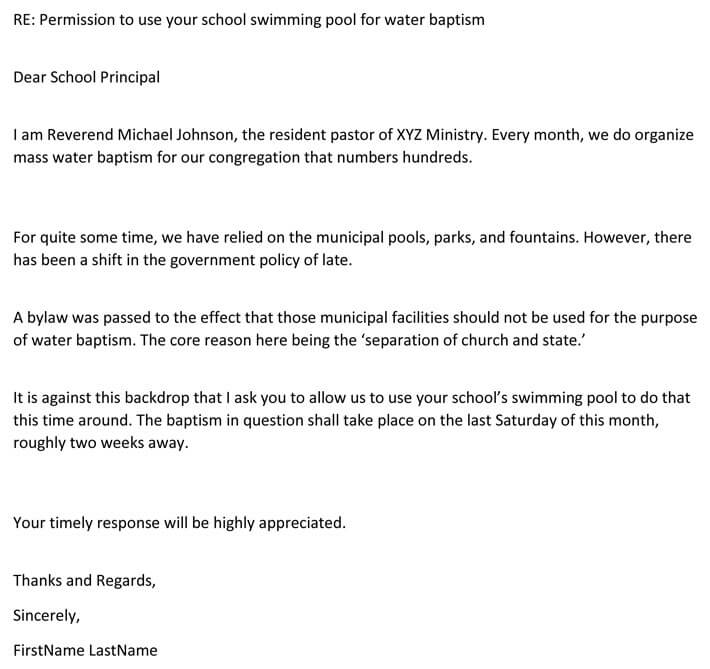 Permission Letter to use swimming pool for water baptism (Email Example)