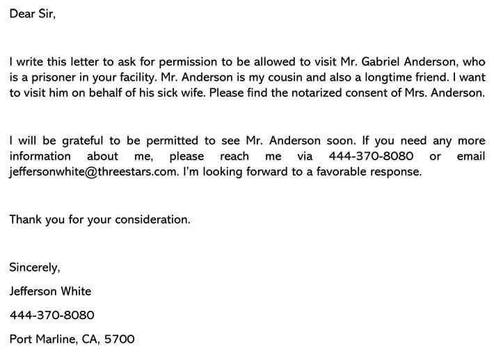 Sample Permission Letter for Visit Prison (Word Format)