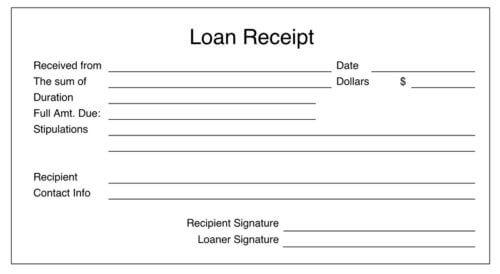 Personal Loan Receipt Template