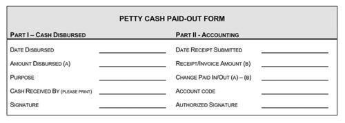 Petty Cash Paid-Out Form