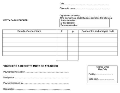 Petty Cash Voucher Download