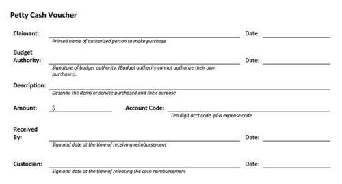 Petty Cash Voucher Template PDF