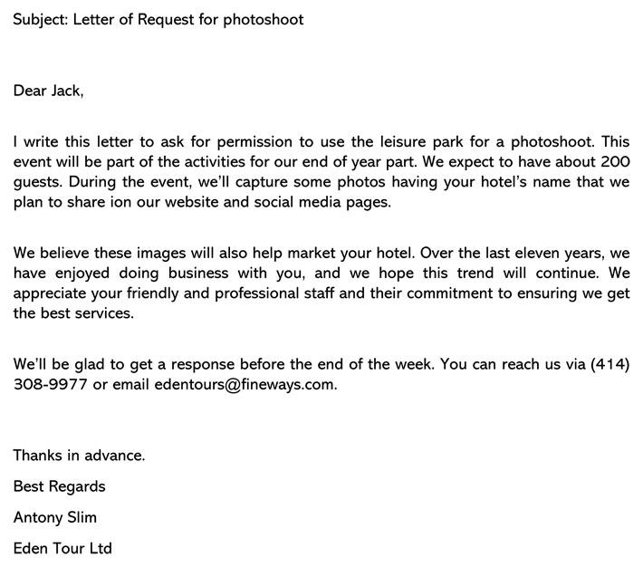 Photoshoot Permission Letter