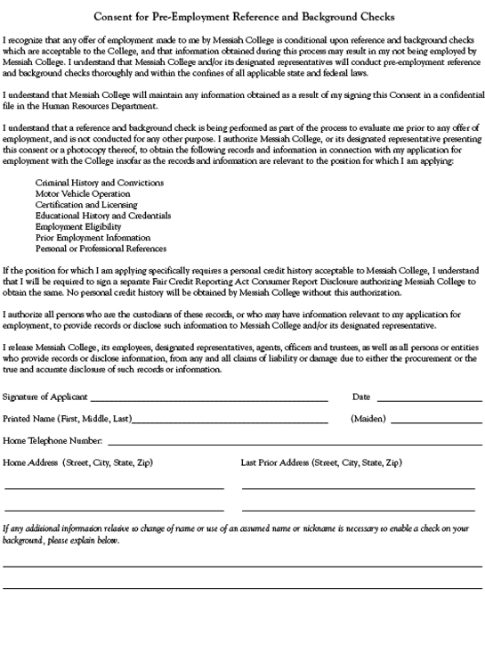 Pre-Employment Background Check Consent Form