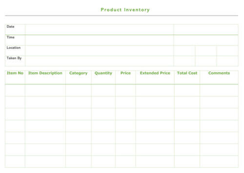 Product Inventory Receipt