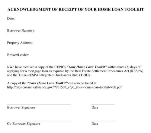 Receipt for Home Loan Template
