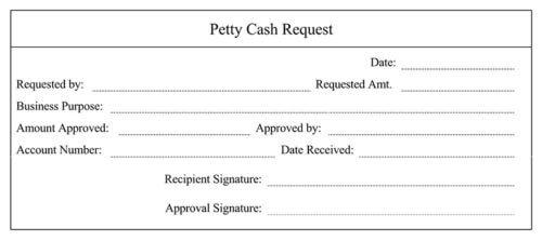 Receipt for Petty Cash Request
