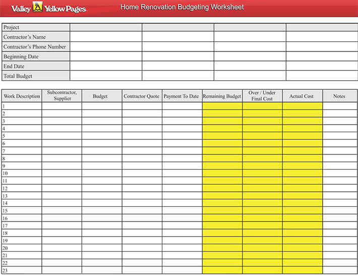 8 Steps To Home Renovation Budgeting Free Workseets
