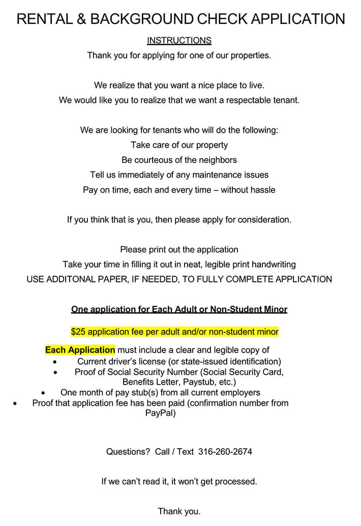 Rental & Background Check Application Consent Form