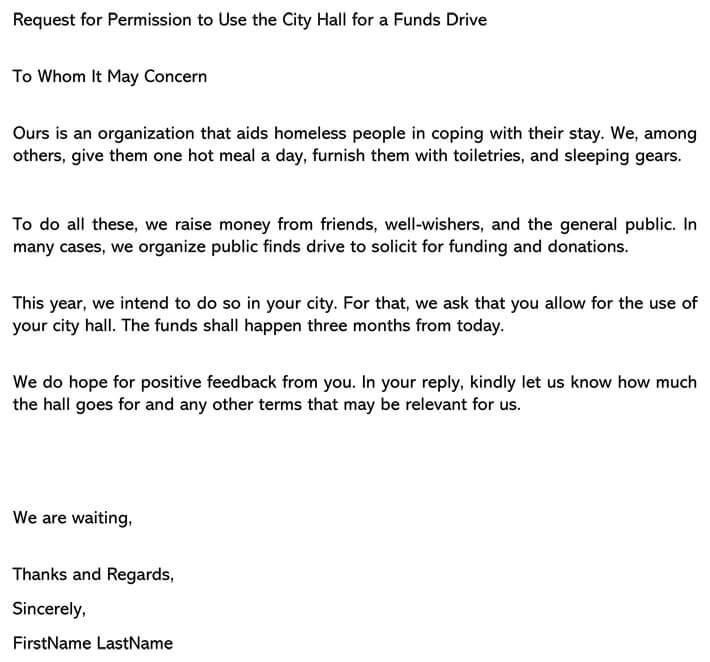 Request for Permission to Use the City Hall for a Funds Drive