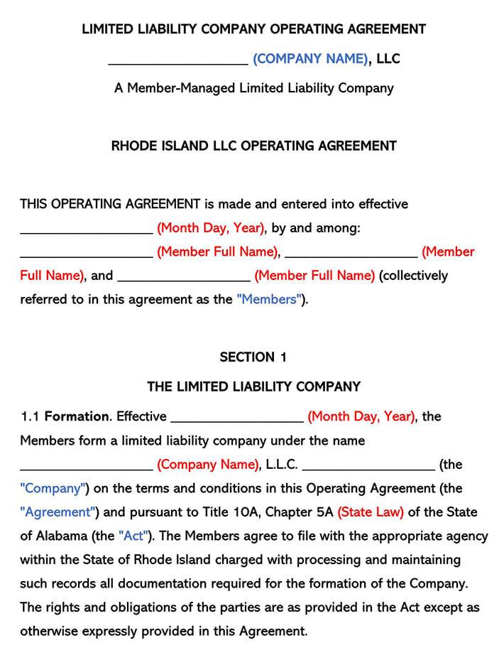 Rhode Island LLC Operating Agreement