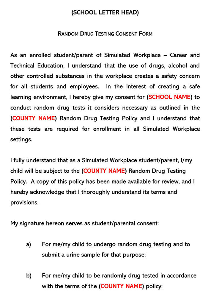 Sample Drug Testing Consent Word Form