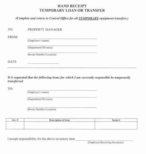 Sample Employee Loan Receipt