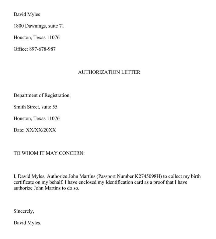 Authorization Letter For Claiming Birth Certificate