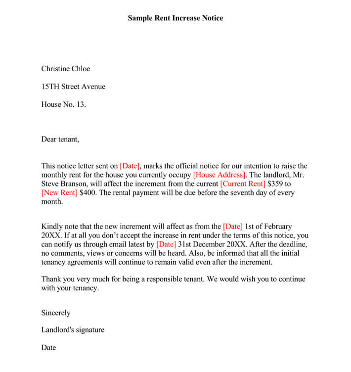 Letter To Tenant To Increase Rent from www.wordtemplatesonline.net
