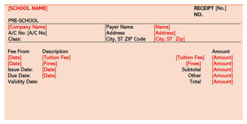 School Fee Payment Receipt Template 01