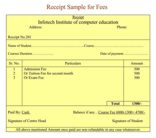 School Fee Receipt Sample