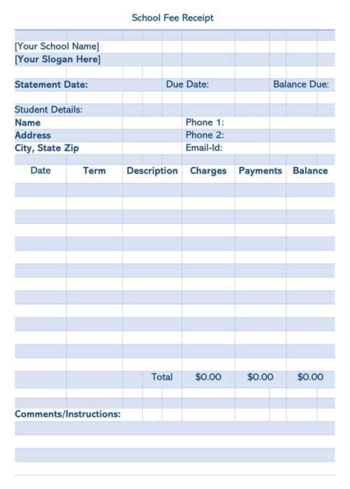 School Fee Receipt Template