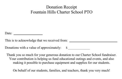 School Fundraiser Receipt
