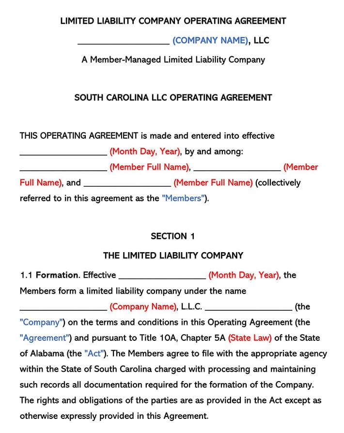 South Carolina LLC Operating Agreement