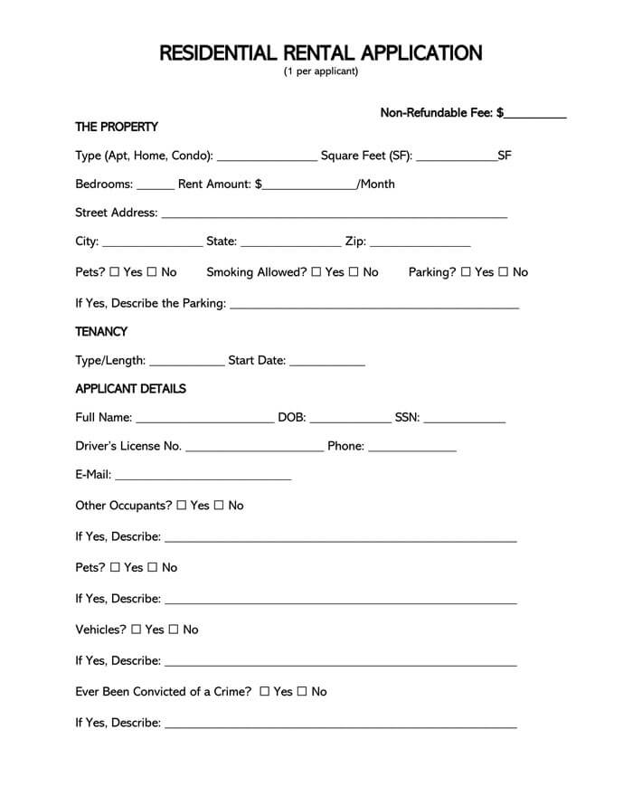 Standard Residential Rental Application Form