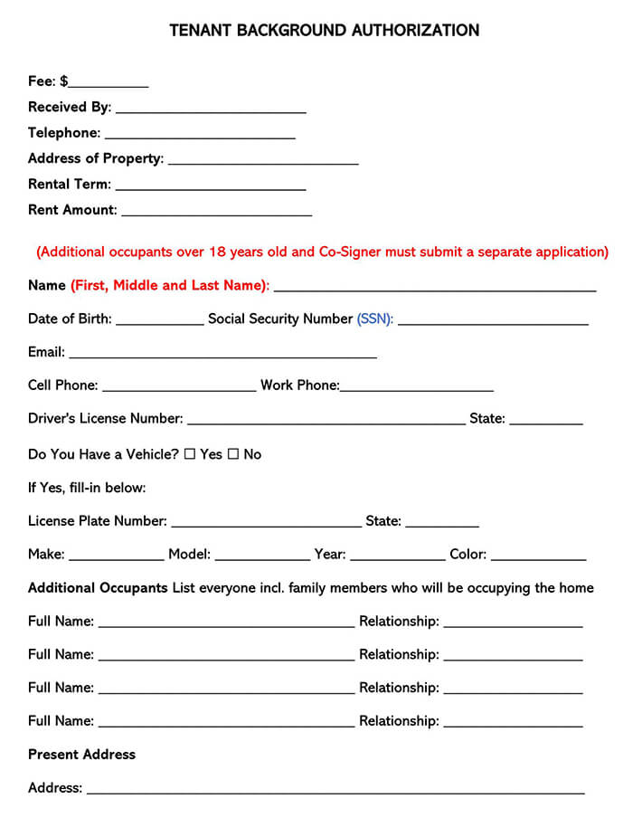 Tenant Background Authorization (Consent) Form