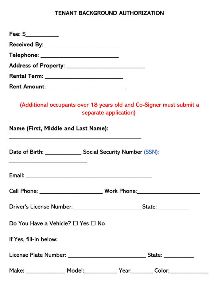 Tenant Background Authorization Form