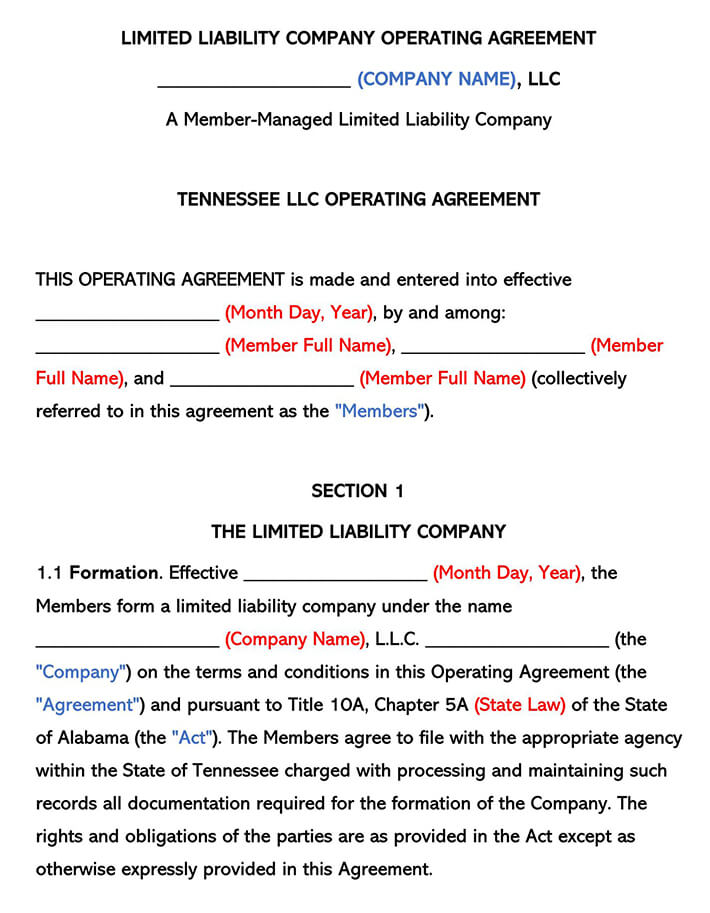 Tennessee LLC Operating Agreement