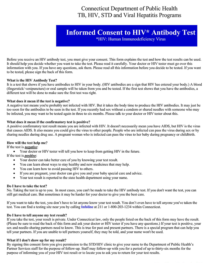 Test for HIV Informed Consent Form