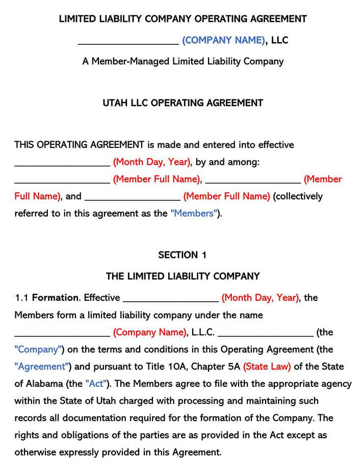 Utah LLC Operating Agreement