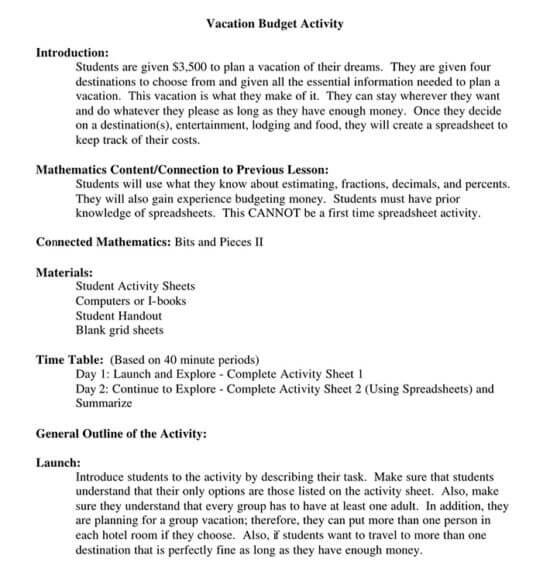 travel budget template pdf