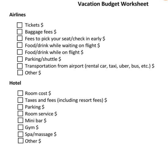 how to create a travel budget 1