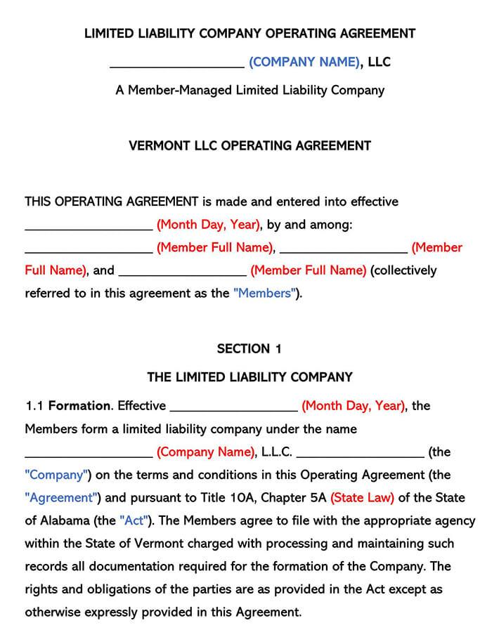 Vermont LLC Operating Agreement