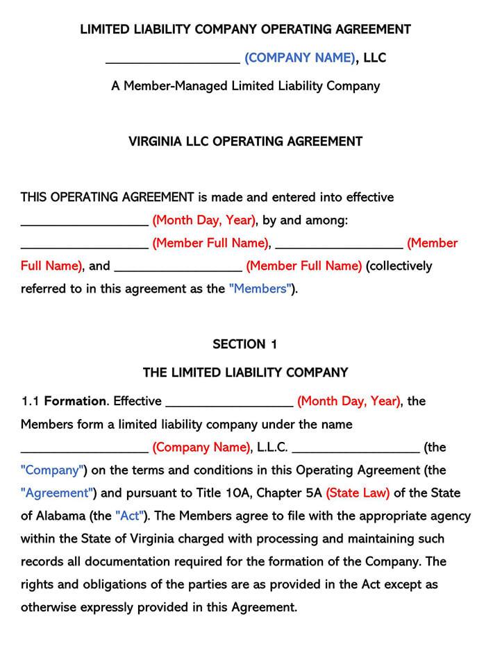Virginia LLC Operating Agreement