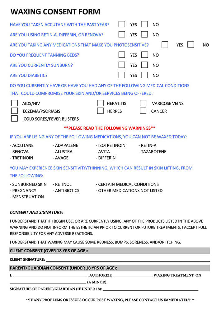 Waxing Consent Form